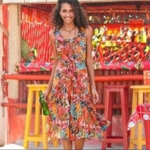 Sundance Silk Havana Dress 8 Ruffle Midi Summe